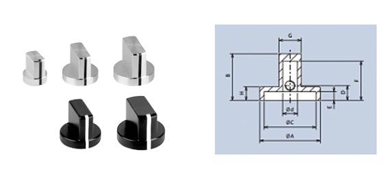aluminium wing knobs with screw fixing