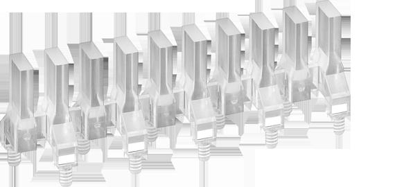 Rectangular head (bargraph) vertical multi-element light guides