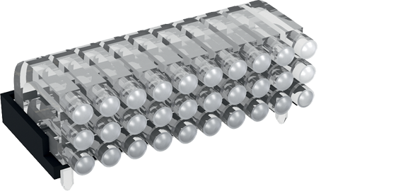 Multiple horizontal light guide, 3 rows, Ø2mm head