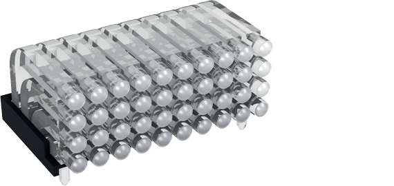 Multiple horizontal light guide, 4 rows, Ø2mm head