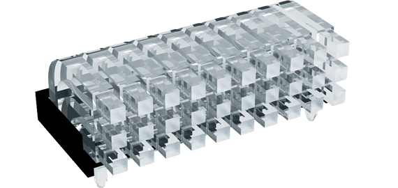 Square head horizontal light guides, 3 rows