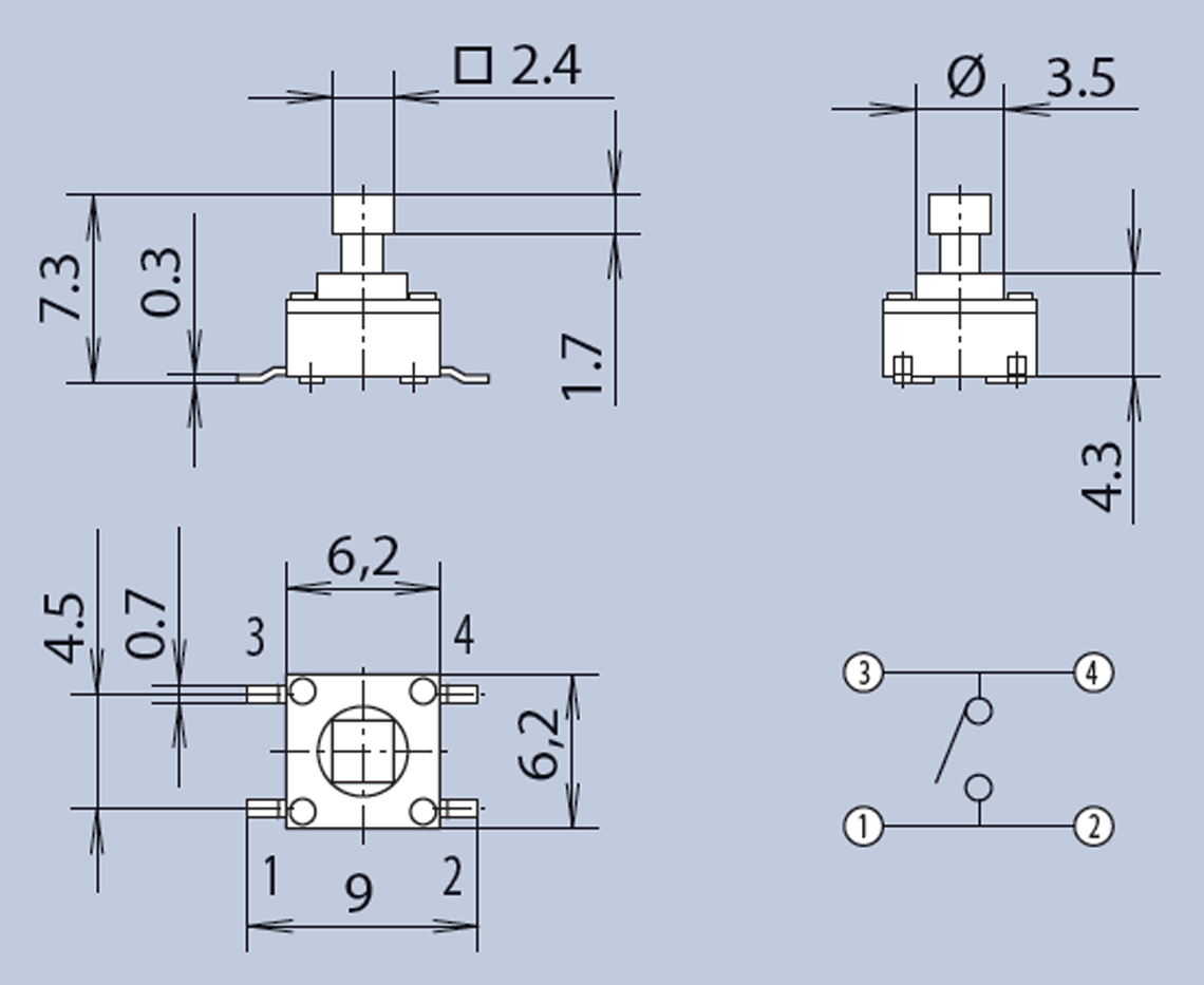 SMD Tactile Switches dimensions diagram