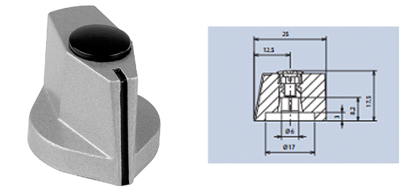 aluminium pointer knobs with top-screw and cap fixing