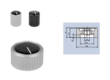 aluminium rotating knobs with top-screw and cap fixing