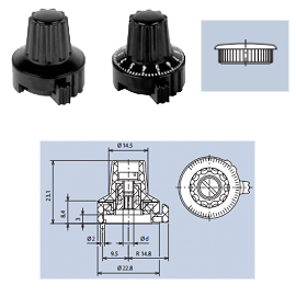 plastic locking knobs with top-screw and cap fixing