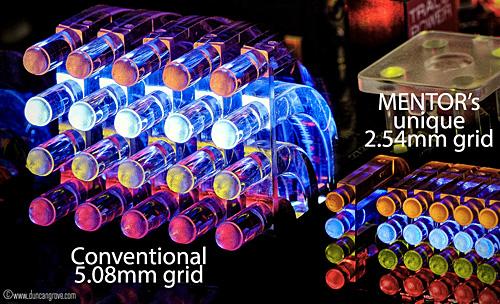 miniature light guides on a unique 2.54mm grid