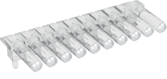 Multiple horizontal light guide, 1 row, Ø2mm head
