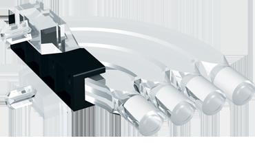 Horizontal light guide, 4 rows, Ø3mm head