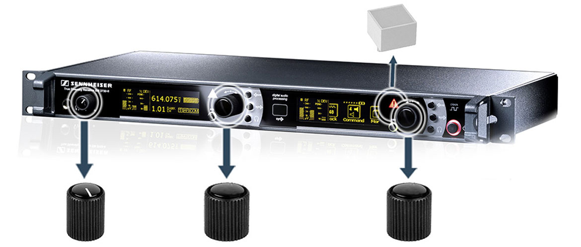 Rotating buttons for audio receivers
