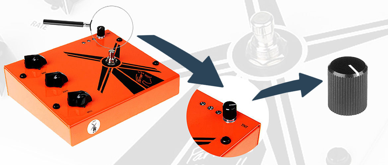 Aluminium knob for a guitar sound pedal
