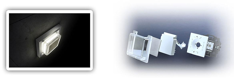 Reflective wall light optics with Busch-iceLight® modules