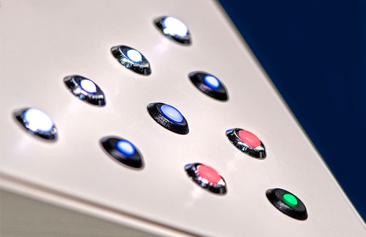 front panel LED indicator lights