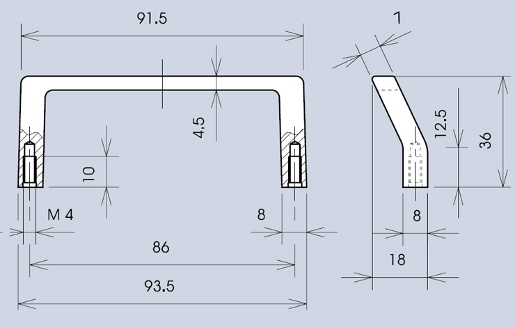 Offset handle 3243 dimensions diagram