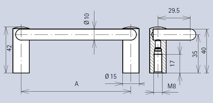 Handle 3405 dimensions diagram