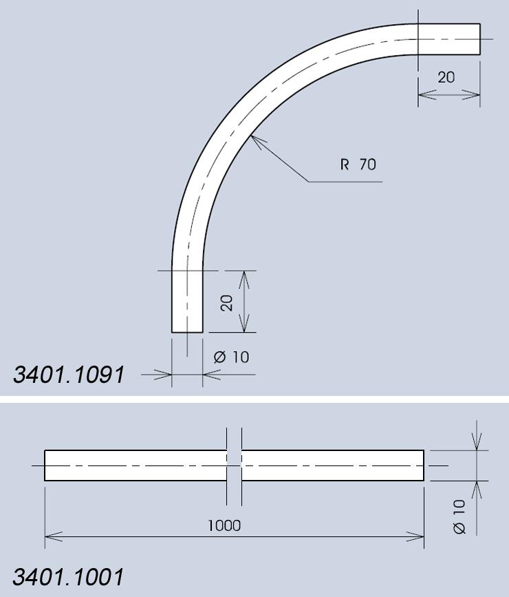 Handle system 3401 components dimensions diagram