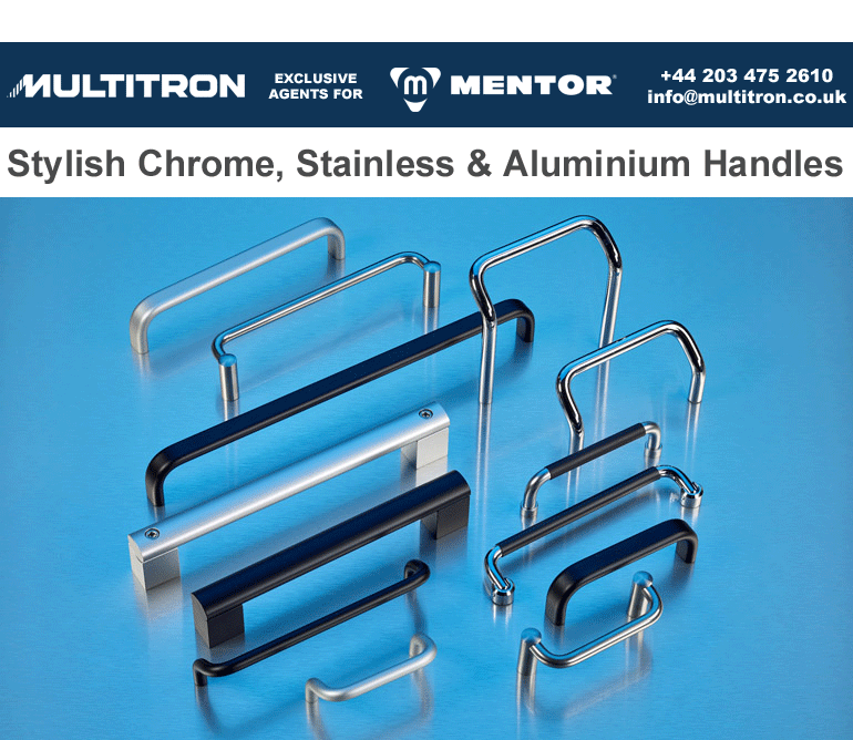 Examples of MENTOR's new chrome, stainless and aluminium instrument handles