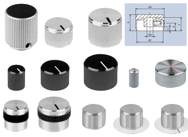 aluminium rotating knobs with screw fixing