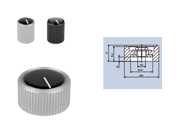 aluminium rotating knobs with top-screw and cap fixing