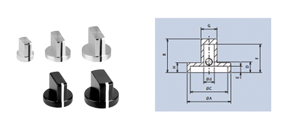 aluminium wing knobs with screw fixing
