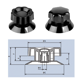 plastic knurled knobs with top-screw and cap fixing