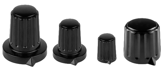 black plastic turning knobs with collet fixing