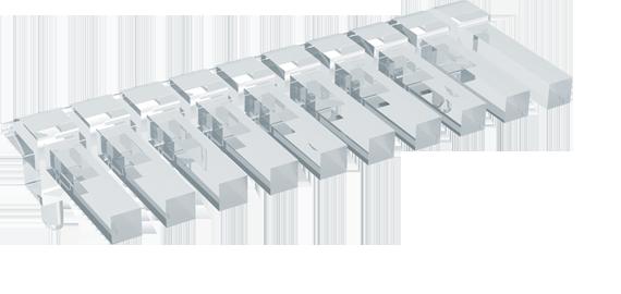 Square head horizontal light guides, 1 row