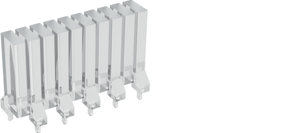 Rectangular head (bargraph) multi-element vertical light guides