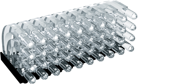 Multiple horizontal light guide, 4 rows, Ø3mm head