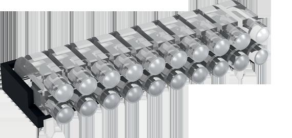 Multiple horizontal light guide, 2 rows, Ø2mm head