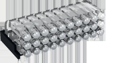 Multiple horizontal light guide, 3 rows, Ø2mm head