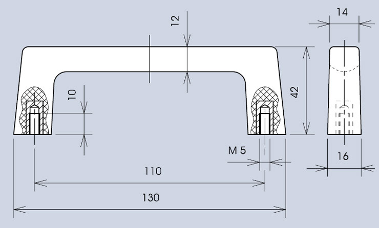 Handle dimensions - part no. 267.13