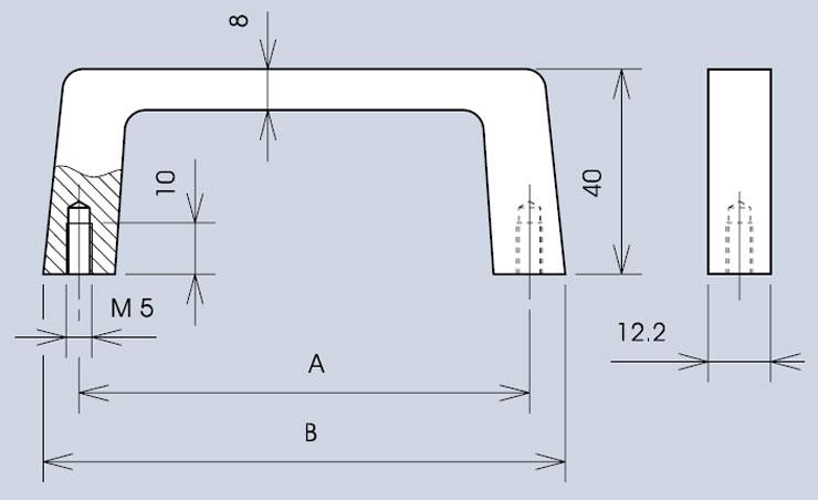 Handle 3268 / 268 dimensions diagram
