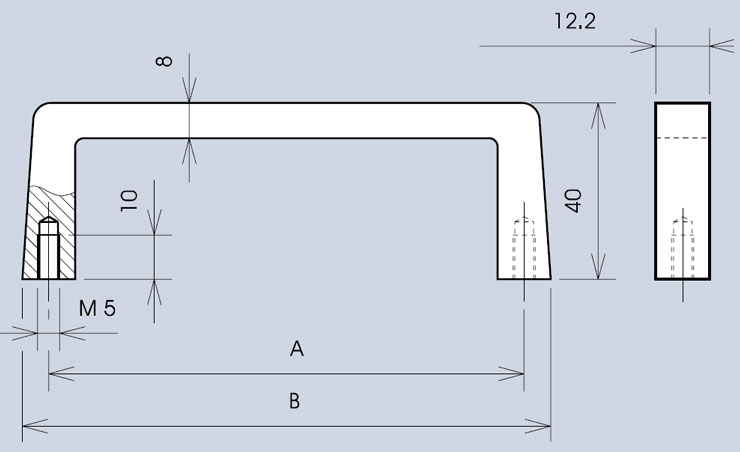 Handle 3268 / 268 dimensions diagram (various widths)