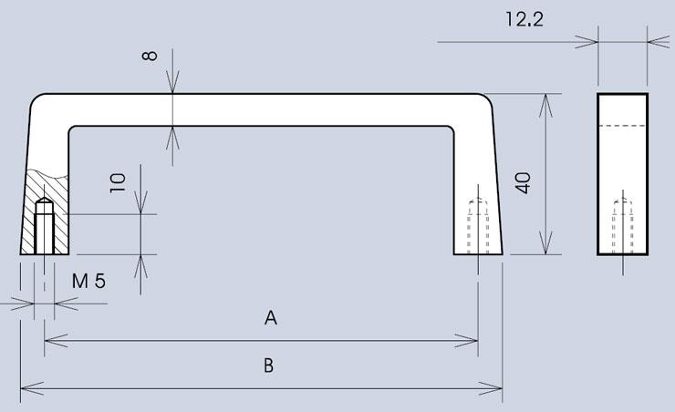 Handle 3268 / 268 dimensions diagram (various widths)