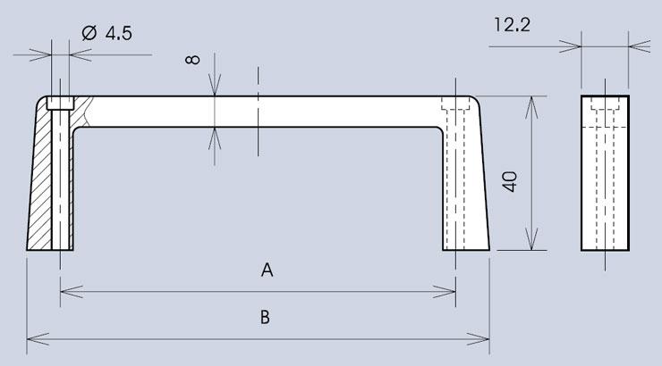 Top fixing handle 3268 dimensions diagram