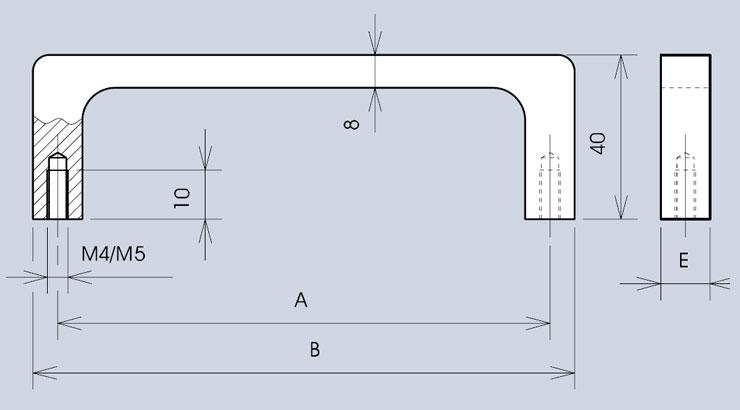 Slim profile handle 3299 dimensions diagram