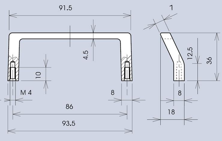 Offset handle 3243 dimensions diagram