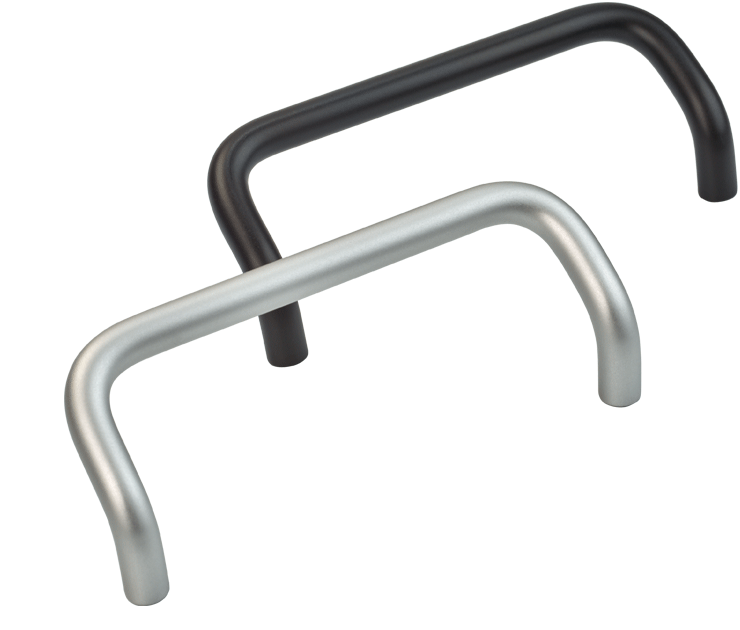 Offset aluminium bow handles, choice of finish