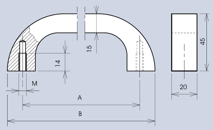 Heavy duty handle 3321 dimensions diagram