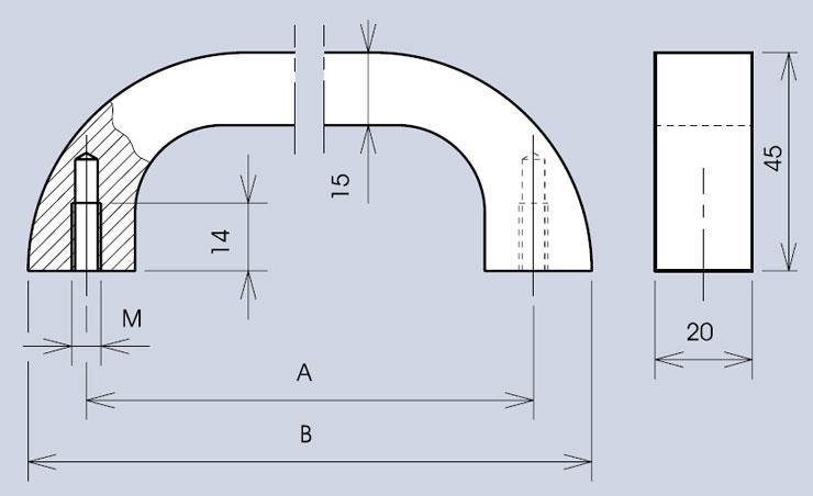 Heavy duty handle 3321 dimensions diagram