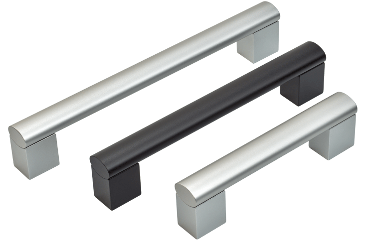 Rear-fixing aluminium handles in two finishes