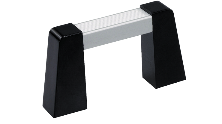 Push-fit handle system with angled brackets
