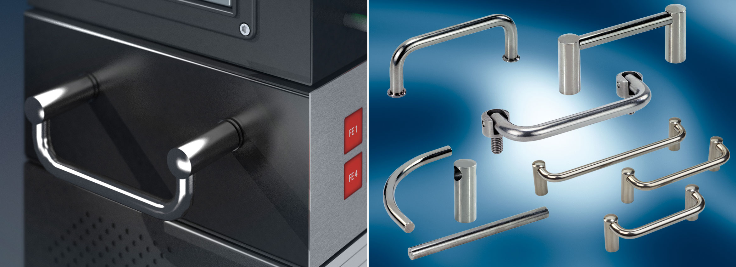 Examples of MENTOR's range of Stainless Steel Handles