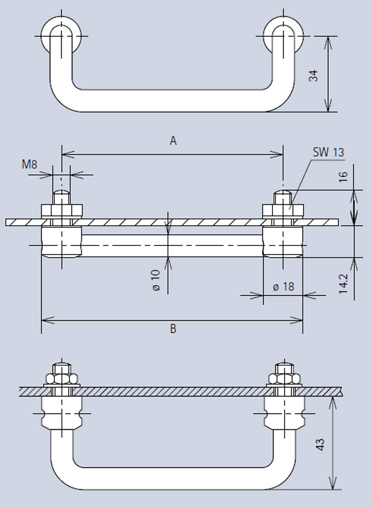 Handle 3486 dimensions diagram