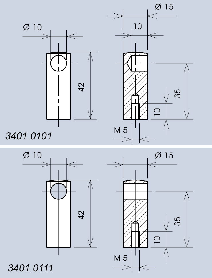 Handle system 3401 end support dimensions diagram