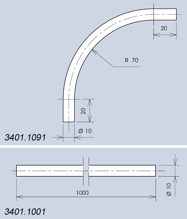 Handle system 3401 components dimensions diagram