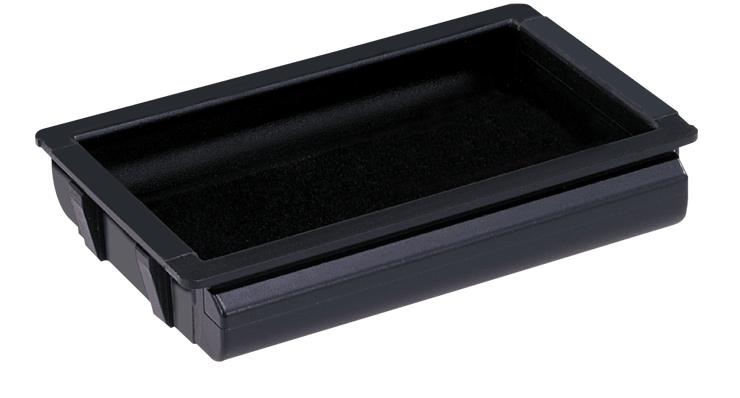 Clip-in recessed handles for sliding plastic doors