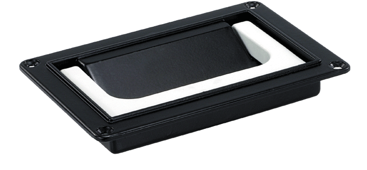 Front- or rear- mounted collapsible handle in plastic and aluminium