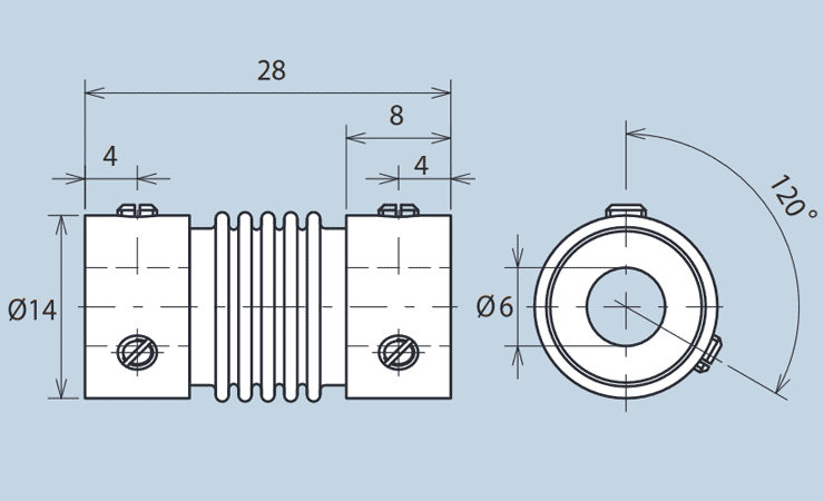 Angled Coupling with Side Screws