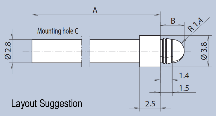Front panel rear mounting light guide layout - spherical